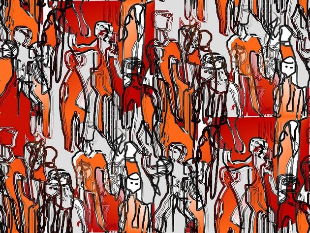 Erika Kiechle-Klemt, People in Motion, 50 x 70 cm, Computergrafik, Fine Art (aus einer Serie, in der sich die Künstlerin mit der Flüchtlingsthematik auseinandersetzt. Erscheint im Mai 2016 im neuen Band von Internationale Kunst Heute)